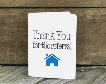 Thank You for the Referral Card Set, referral, Realtor cards, Real Estate, thank you cards for Realtors - Set of 5 cards - Vertical