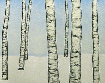 Winter Aspen trees woodblock print landscape