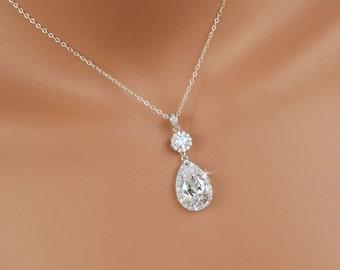 Crystal Bridal necklace, Crystal Wedding pendant, Wedding jewellery, Bridesmaid jewelry, Bridal jewelry, Swarovski, Cameron Necklace