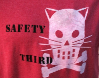 SAFETY THIRD tshirt Kitty Crossbones Concussion tshirt - MENS  heather red tshirt S  M - L - xl xx Safety 3rd shirt head trauma accident