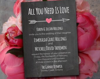 "DIY Wedding Invitation Template - Chalkboard Wedding Invitation Heart Arrow ""All You Need Is Love"" - Pink Heart Chalk Board Wedding Download"