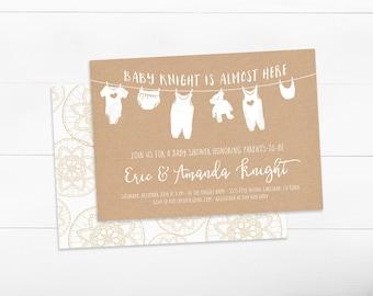 Couples Baby Shower Invitation, Gender Neutral, Simple, Diaper Shower Invitation (804)