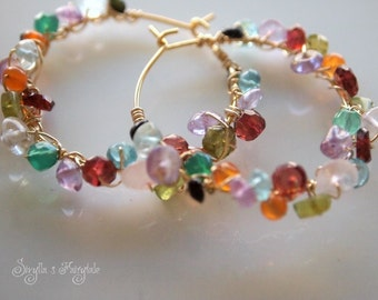 Gem wrapped hoops - Earrings -Farfalina