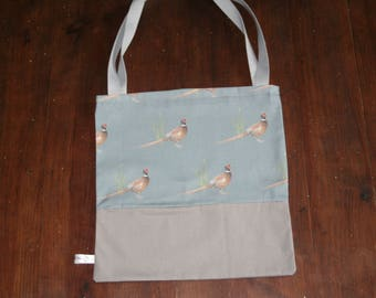 Pheasant print shopping bag, tote bag.  Pheasant shopping bag.  Christmas gift, gift for her, birthday gift, handmade gift