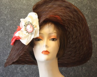 Brown Kentucky Derby Hat, Derby Hat, Garden Party Hat, Tea Party Hat, Easter Hat, Church Hat, Wedding Hat, Downton Abbey Brown Hat 044