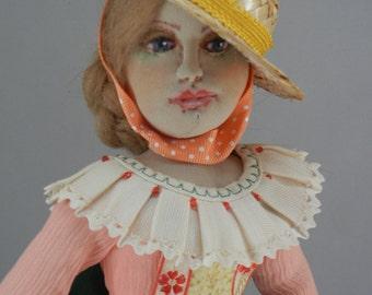 Folk Dancer, OOAK Art Doll, Bottle Doll. Fiber Art