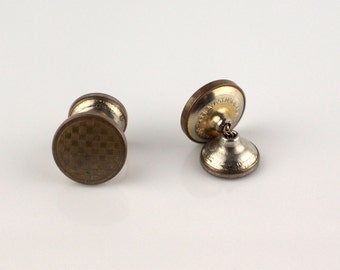 Gold Tone Round Engine Cut Etched Surface Mens Cufflinks with Linked Back
