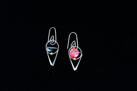4 free colors, drop earrings with interchangeable discs, sterling silver, gold filled, rose gold, allergy safe niobium