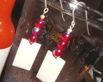 SALE, Ruby Red Czech Glass with Enameled Charms Earrings