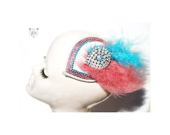 fascinator with feathers/ crystal brooch