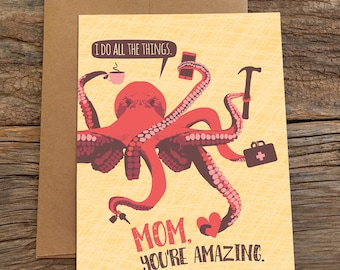 funny birthday card for mom / mother's day / octopus