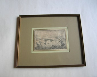 antique original engraving Le Tine, Tinos island, Cyclades, Aegean sea, Greece framed