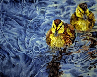 Duckling Painting - 10x8 Framed Print