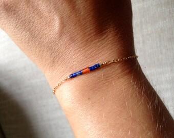 Bracelet chain gold filled, lapis lazuli and carnelian beads