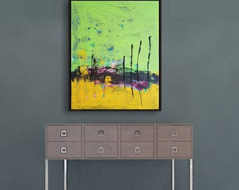 Abstract landscape, wall decor, landscape painting, 30 inch X 24 inch, Green Yellow painting, Acrylic painting