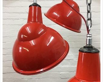 Industrial Vintage 1950s Red Benjamin Enamel Factory Powerstation Pendant Shade