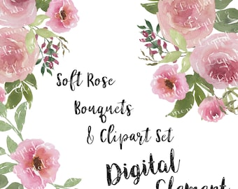 Pink Rose Clip art, Pink Shabby Rose Clipart, Watercolor Clipart Roses for Scarpbooking, Wedding Rose Clipart. No. WC50