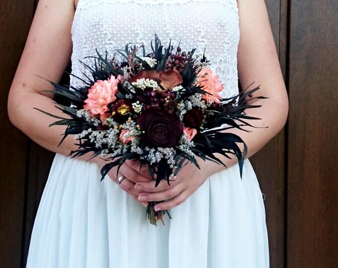Fall Sola Dried Flowers Wedding Bouquet Chocolate Brown Bridal Bridesmaid, Autumn Bouquet, Preserved Greenery Dark Flower, Alternative Bride