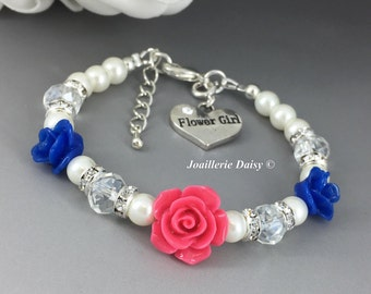 Royal Blue Flower Girl Jewelry Flower Girl Gift Flower Girl Bracelet Hot Pink and Royal Blue Flower Bracelet Flower Girl Gift Idea Wedding