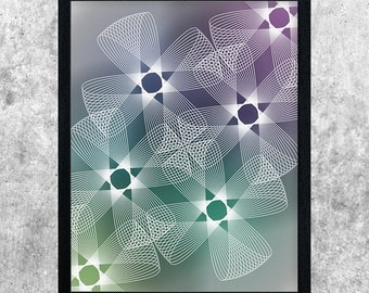 Abstract Gradient Art, Green Blue Teal Purple, Geometric Printable Art, Spirograph Poster, Instant Download, Modern Art Print, Wall Art