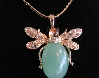 Faux Jade and Gold Toned Flying Insect Pendant Necklace