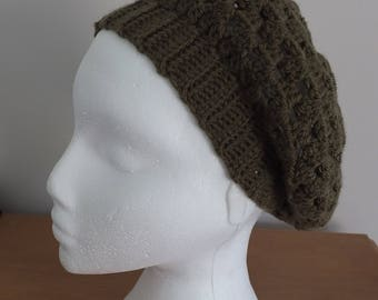 Khaki slouchy beret by Little Gems Crochet