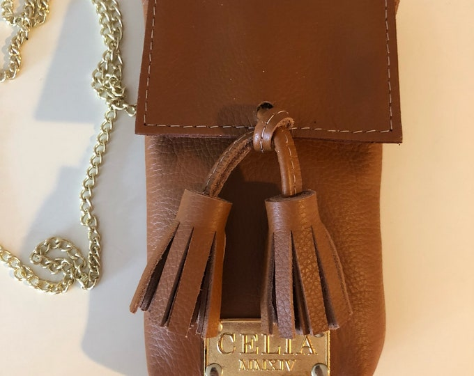 Green Small Handmade Leather Cell Phone Purse/ Small Leather Cross body.