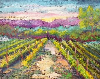 Original oil pastel landscape sketch, Spring Vineyard Provence French Countryside, Marion Hedger 6x8 inch on black paper, Provence landscape