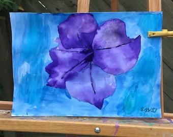 Purple petunia 2-watercolor on watercolor paper