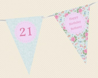 Personalised Birthday Bunting - Vintage Floral - Blue & Pink Roses - Made in UK