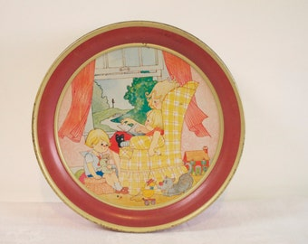 Vintage tin box - Mother with Children Story Time red tin box