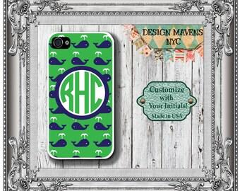 Preppy Whale Monogram iPhone Case, Personalized iPhone Case, Nautical iPhone Case, Phone 4, 4s, iPhone 5, 5s, 5c, iPhone 6, Phone Case