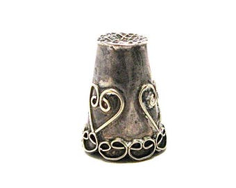 Antique Sterling Silver Mexican Iguala Thimble, 1920