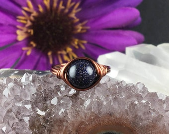 Blue goldstone ring, wire ring, wire wrapped ring, handmade ring, wrapped stone ring, blue goldstone jewelry, bohemian rings