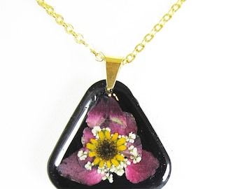 Pink Geranium   Triangular   Pressed Flower Pendant, Real Flower Necklace, Resin, (1931)