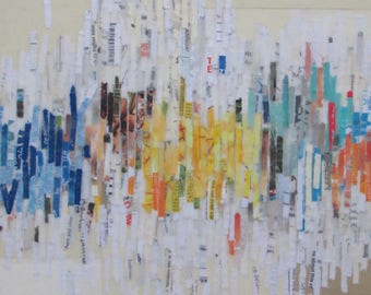 Reimagined Voices, encaustic painting, collage, line painting, recycled art, color lines