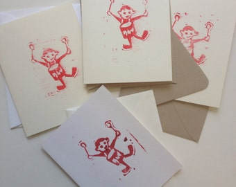 "Notecards, ""Drummer,"" with envelope, linocut print on card stock."
