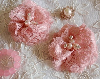 2 Lace Flowers Lace Rose Fabric Flower Fabric Rose With Rhinestone Pearl (2-3/4 inches) In Dusty Rose  MY-424-02 Ready To Ship