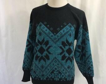 Vintage 1980s Albee Black Teal Nordic Fair Isle Style Acrylic Ski Sweater M