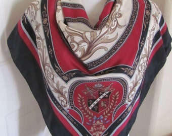 """Amazing Burgundy Blue Ivory So Soft Silk Scarf  - 36"""" Inch 92cm Square - Best of the Best"""