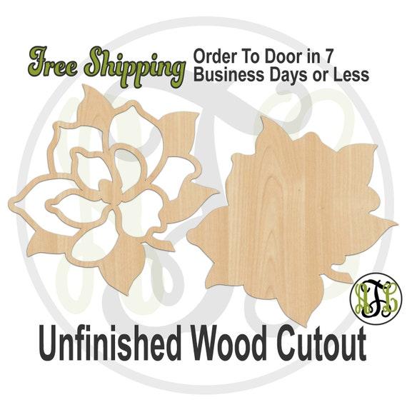 Magnolia- No. 28301 or 280306- Nature Cutout, unfinished, wood cutout, wood craft, laser cut, wood cut out, Door Hanger, Louisiana, Flower