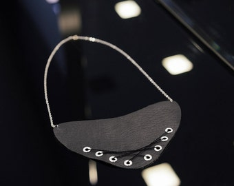 Black Vegan Leather Breast Plate Necklace with Lacing and Silver Metal Eyelets