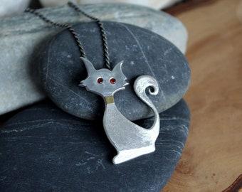 Cat Silver Pendant & Chain