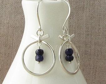 Modern Sapphire Birthstone Earrings, September Birthstone Jewelry, Natural Sapphire Silver Earrings, Navy Blue Sapphire Earrings, E859