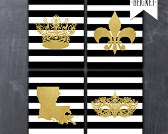 "New Orleans Louisiana / Mardi Gras - Faux Gold Foil Wall Art - Black and white stripes - Set of Three 8x10"" INSTANT DOWNLOAD"