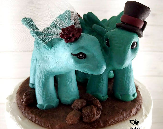 Stegosaurus Wedding Cake Topper - Realistic Dino Bride and Groom - Dinosaur Wedding Cake Topper