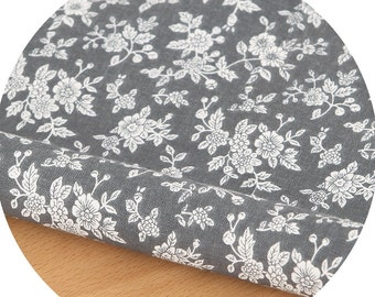 Floral Gray Cotton By the yard (width 44 inches) 73226