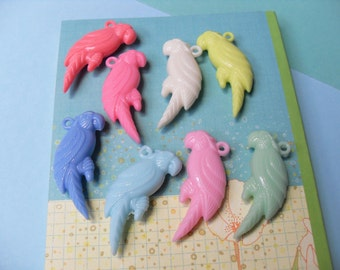 5x Pastel Parrot Charms 50mm by 20mm