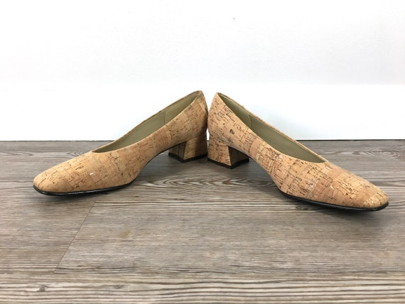8 Etienne Leather 8 Natural by Tan in Pumps Textured Block Brown Look Toe Cork 5 US Closed 90s Vintage Aigner Heel Cork Light Spain Made EpFw0qBnx