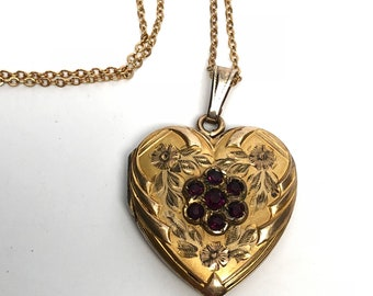 Heart Locket Necklace, Purple stones, Gold Filled